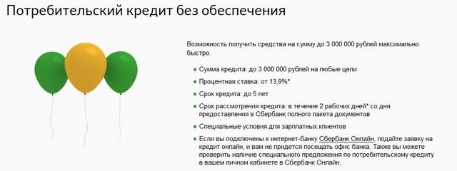 Условия кредита без обеспечения от Сбербанка